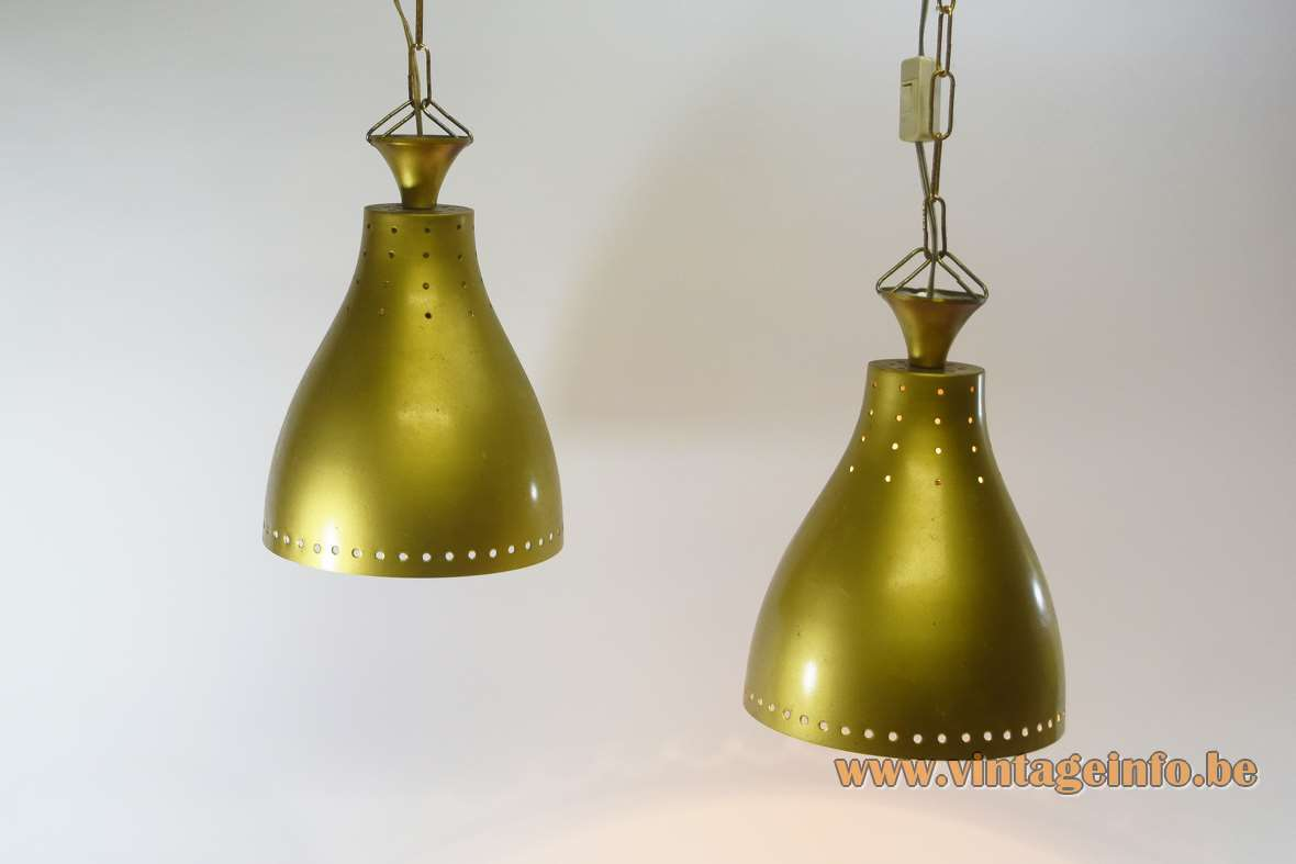 1950s billiard pendant lamps perforated round holes gold paint lampshades metal chain 1960s MCM Mid-Century Modern