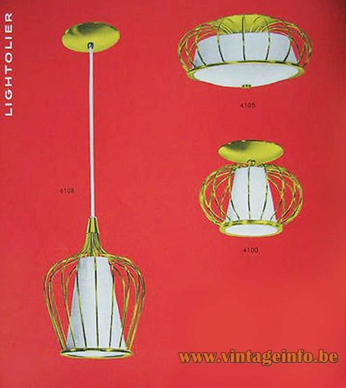 1950s Caged Pendant Lamp - 1955 Lightolier Catalogue