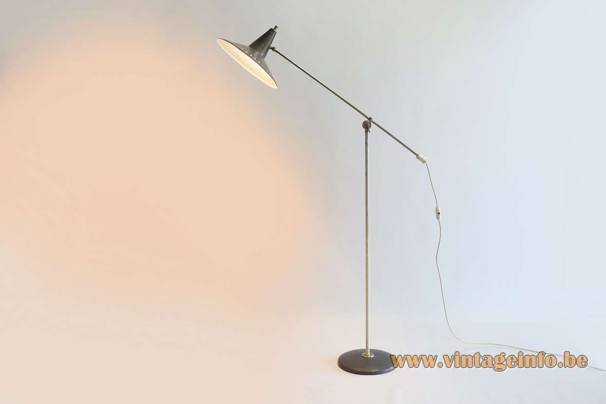 1950s Panama style floor lamp Wim Rietveld grey perforated slits witch hat lampshade 1960s VH Belgium