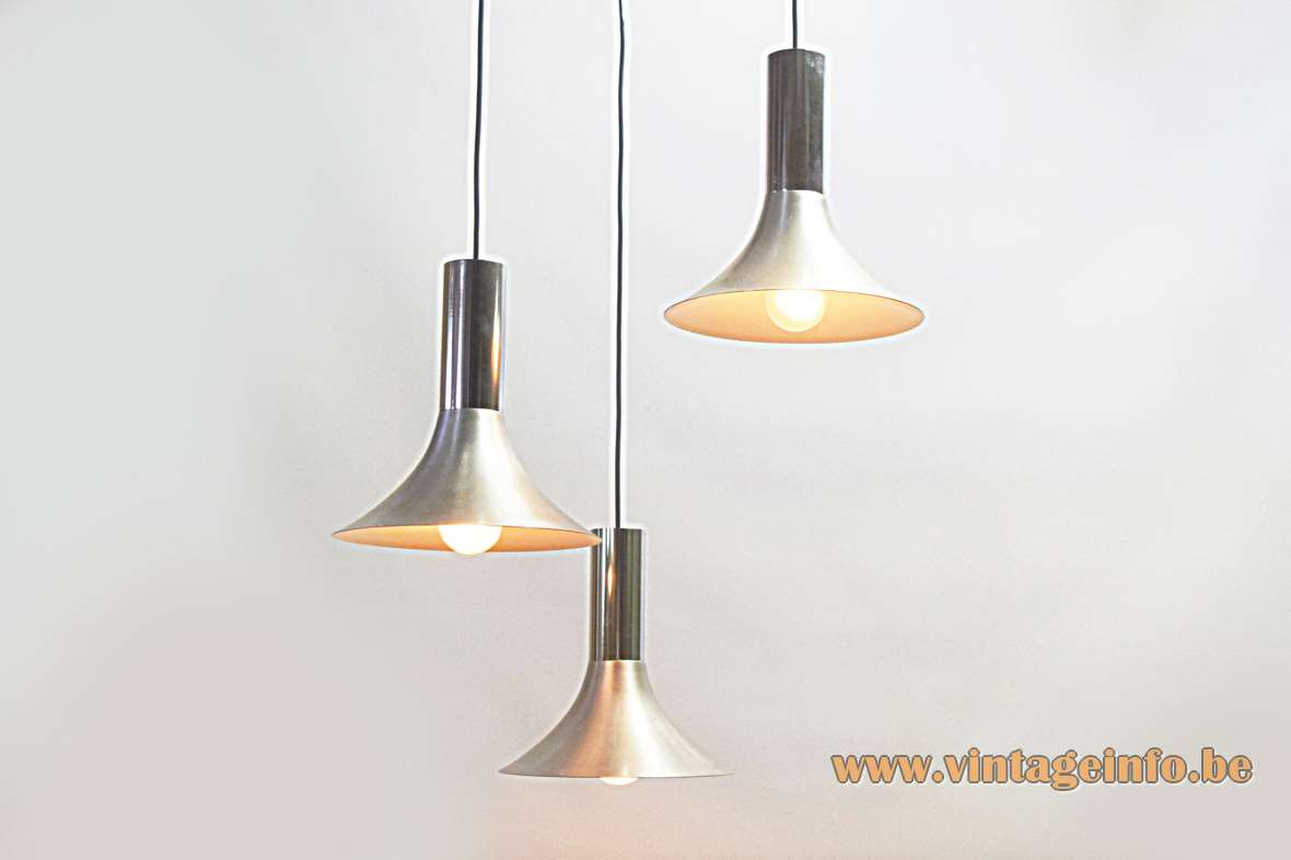 1960s trumpets pendant lamp 3 cascading brushed aluminium lampshades stainless steel tubes chrome canopy E27 sockets
