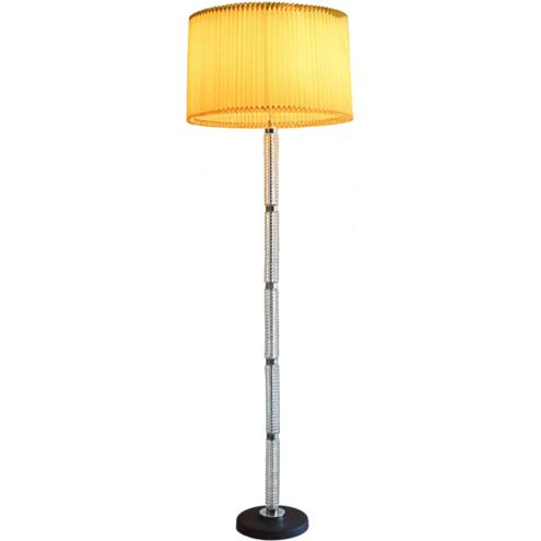 1970s glass tubes floor lamp, black base, Massive Belgium, folded lampshade Richard Essig