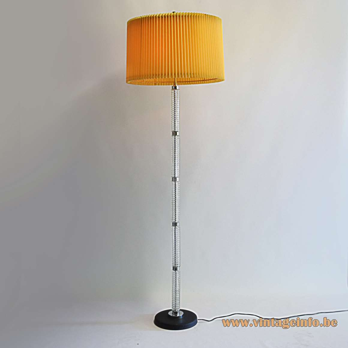 1970s glass tubes floor lamp black round base folded lampshade Richard Essig Massive Belgium 2 E27 sockets