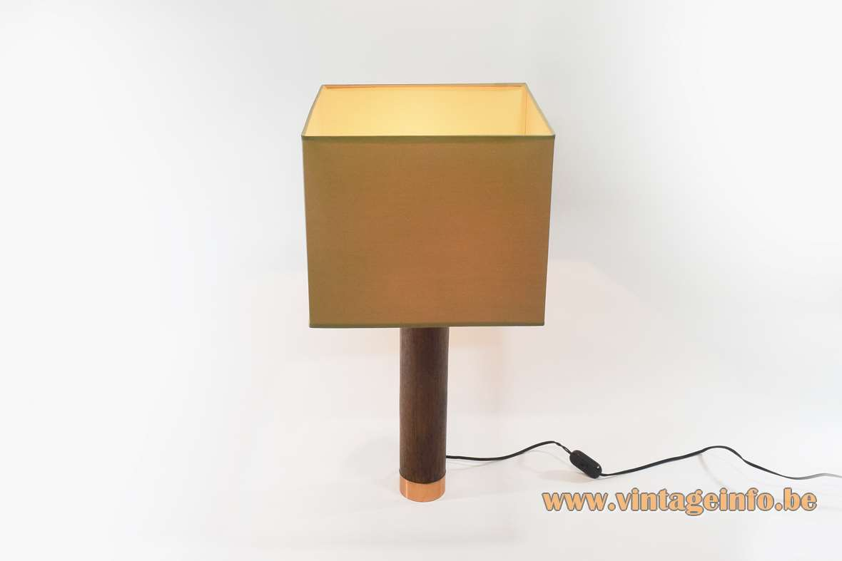 1970s Teak And Copper Table Lamp