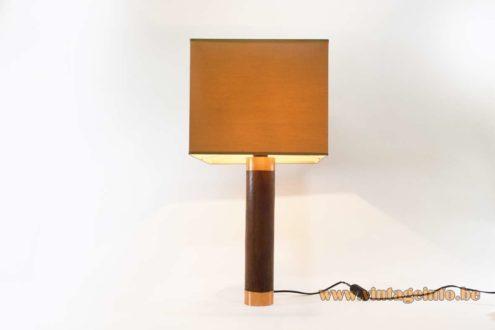 1970s teak and copper table lamp round base solid teak copper ends Bakelite socket 1970s Mid-Century Modern