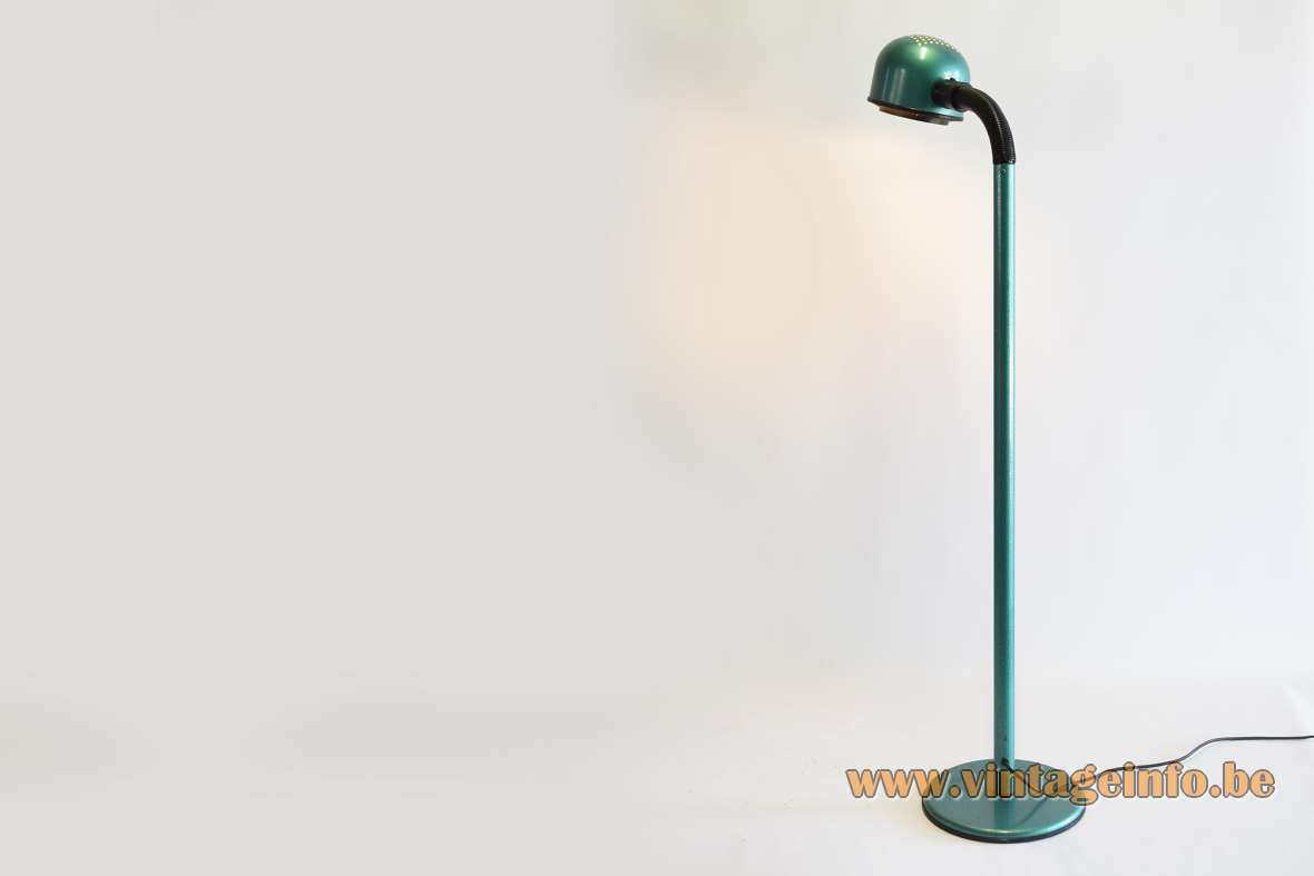 1980s Green Metallic Floor Lamp Brilliant AG Leuchten Alda Sweden round perforated lampshade black gooseneck