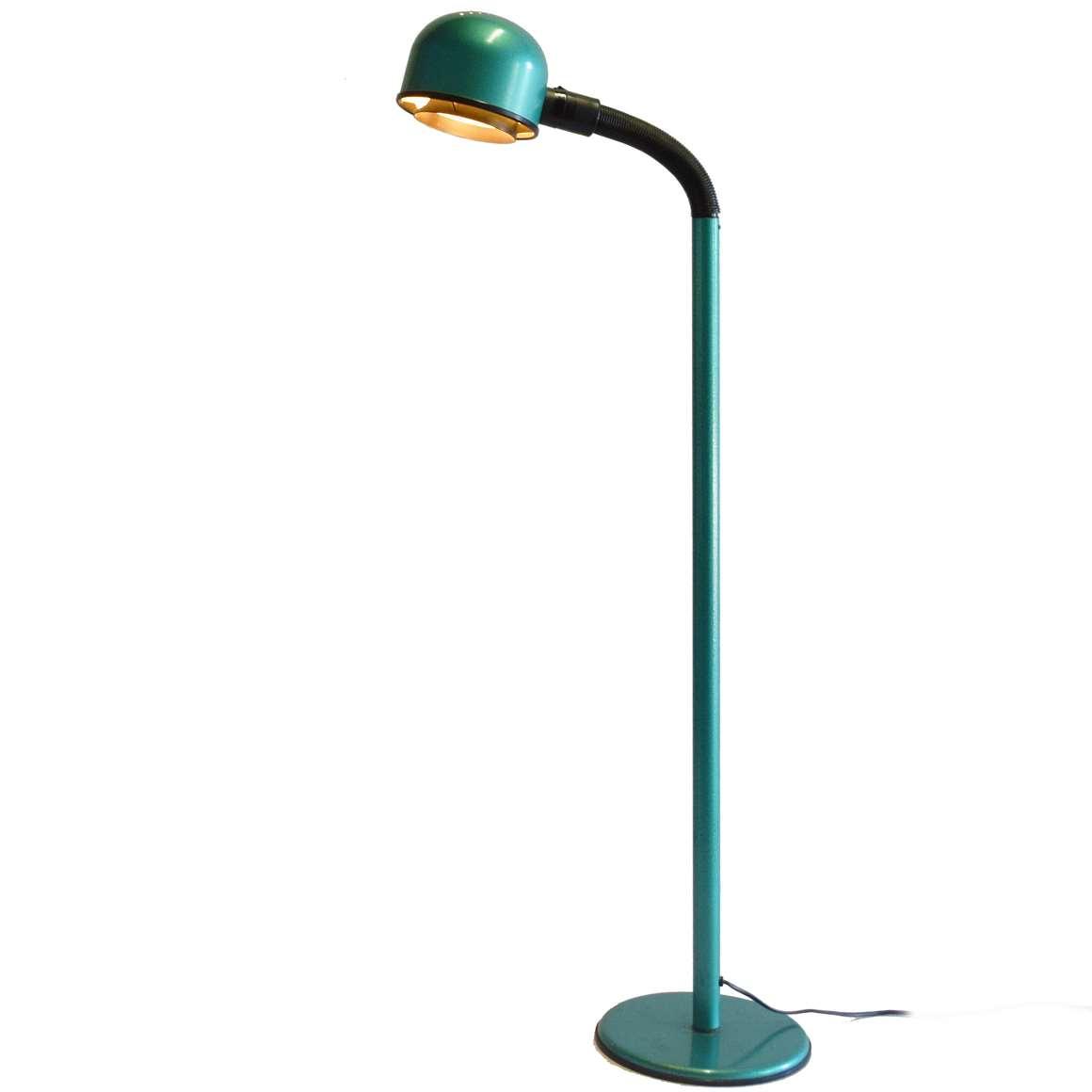 1980s Green Metallic FLoor Lamp