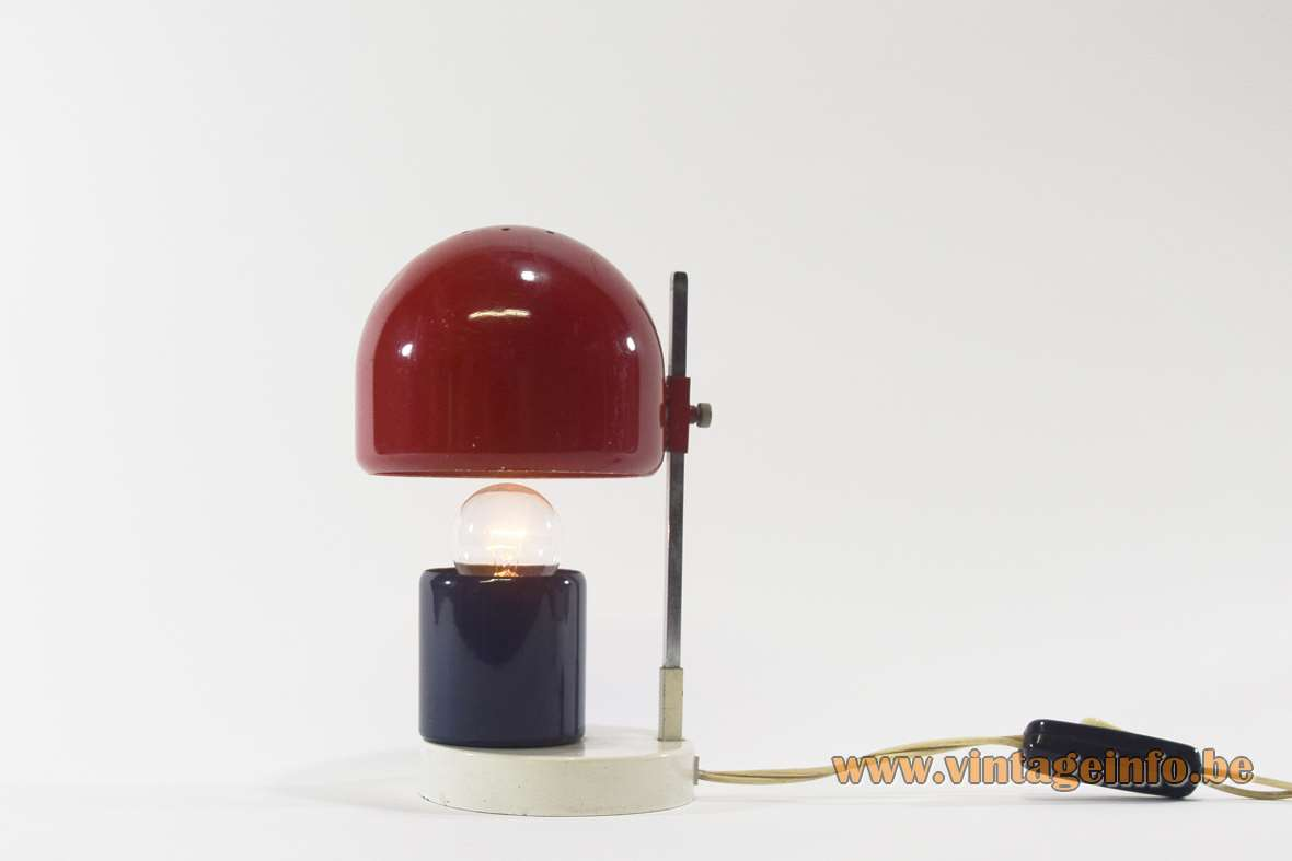 Adjustable 1960s Bedside Lamp eclips white red blue painted iron aluminium chrome square rod MCM