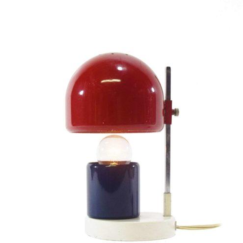 Adjustable 60s bedside table lamp white red blue metal chrome square rod Angelo Lelii Gispen Schuivertje