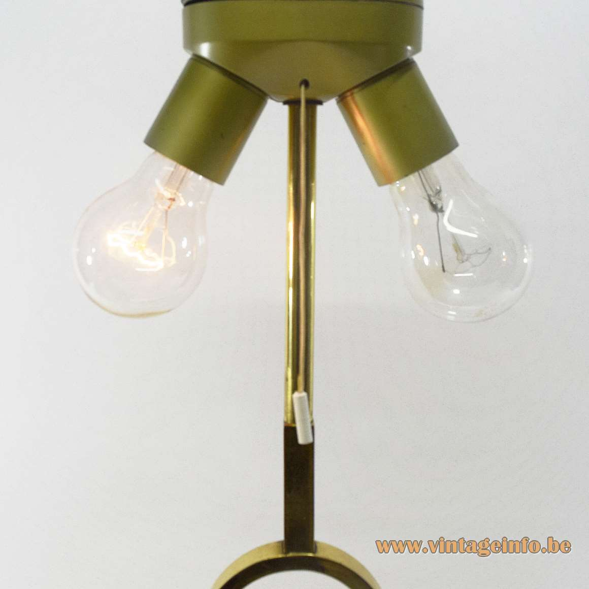 Brass eternal flame table lamp square base and square curved rod fabric lampshade Deknudt Lighting Deerlijk Belgium
