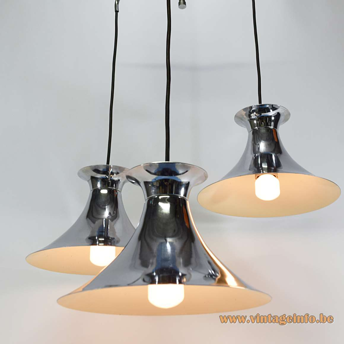 Chrome Triple Witch Hat Pendant Lamp