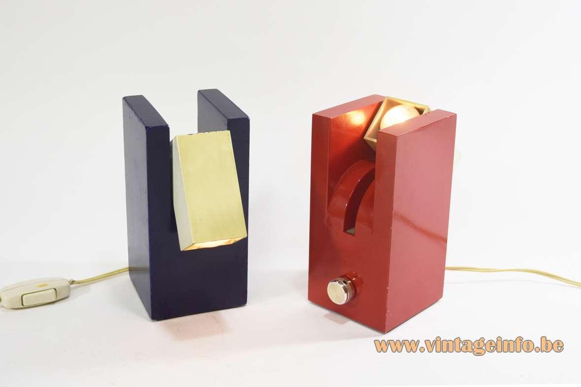 F.A.A.I. Arredo Prisma table lamps cuboid cast aluminium square lampshade Fase Spain Meo Caffi 1960s 1970s
