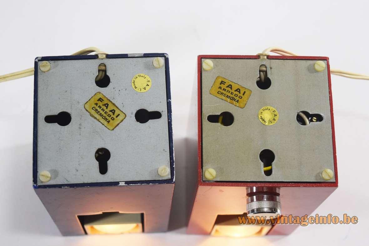 F.A.A.I. Arredo Prisma table lamps cuboid cast aluminium square lampshade Fase Spain Meo Caffi 1970s label