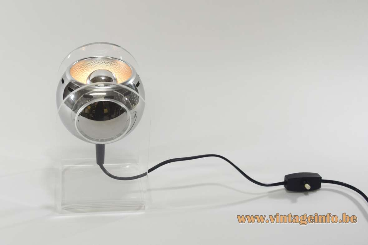 Gino Sarfatti Model 540 table lamp acrylic base chrome globe Insta GmbH 1970s 1980s Mid-Century Modern