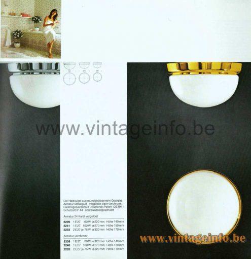 Glashütte Limburg Opaque Half Round Flush Mount - 1979 Catalogue Picture