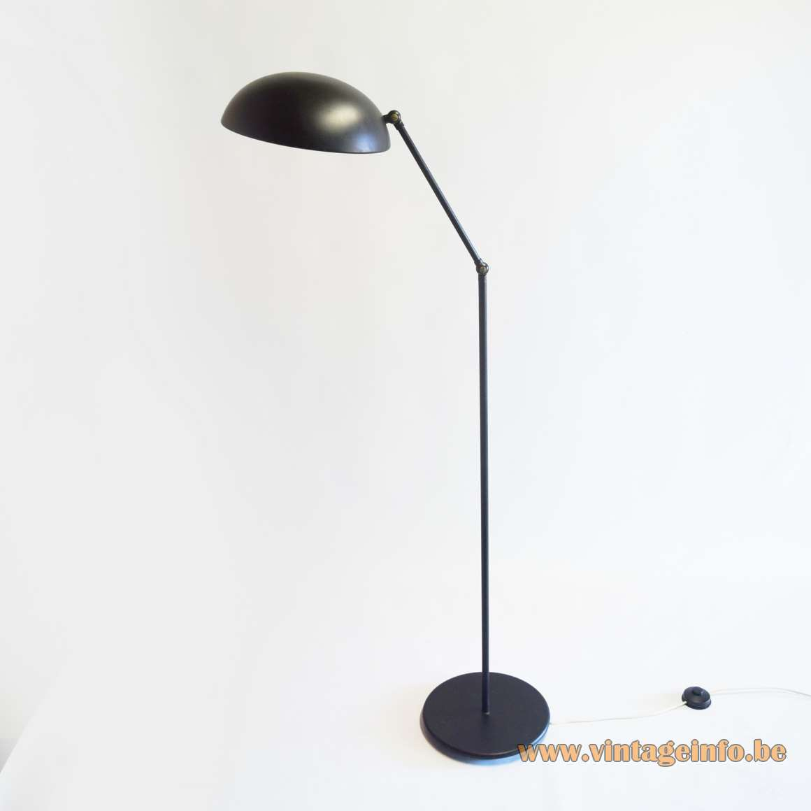 Hala black dish floor lamp round base 2 rods joints E27 socket 1970s Mid-Century Modern Zeist The Netherlands