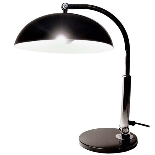 Hala desk lamp model 144 design: Herman Busquet black base lampshade chrome rod Bahaus art deco