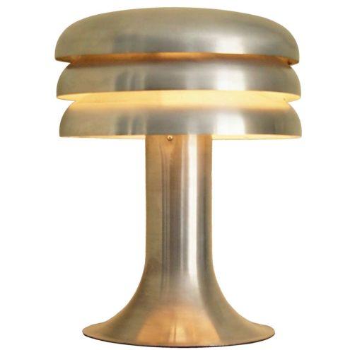 Hans-Agne Jakobsson Lamingo BN 25 table lamp round aluminium base 3 rings slats lampshade 1960s