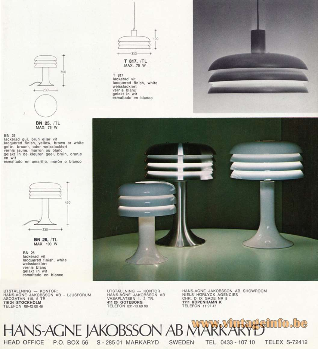 Hans-Agne Jakobsson Lamingo BN 25 Table Lamp - Catalogue pictures BN 25, BN 26 Table Lamps and T817 Pendant Lamp