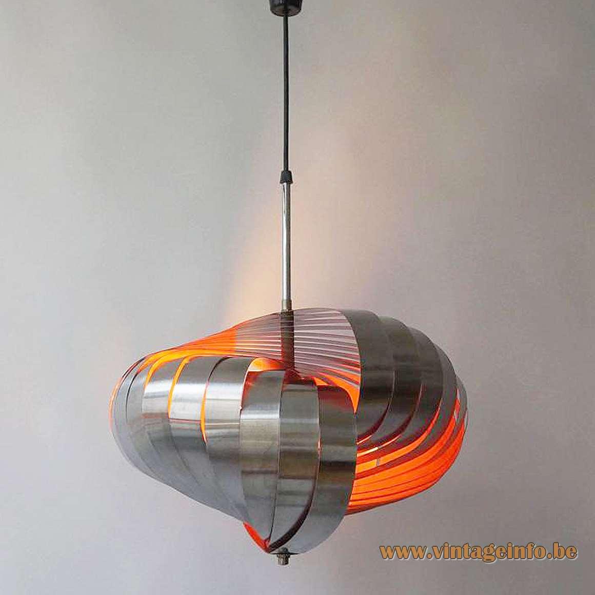 Henri Mathieu Spiral Kinetics style pendant lamp aluminium metal slats orange inside 1960s 1970s Massive Belgium