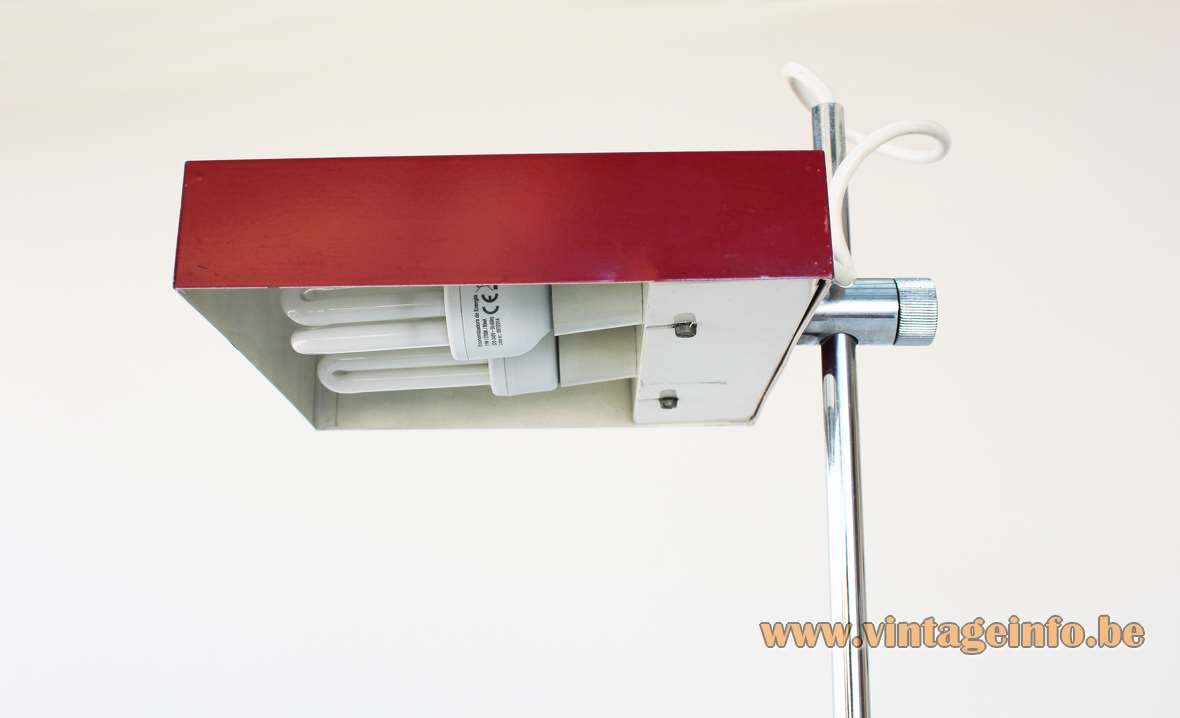 Kaiser Leuchten 6640 desk lamp 1960s design: Klaus Hempel square red base chrome rod rectangular lampshade
