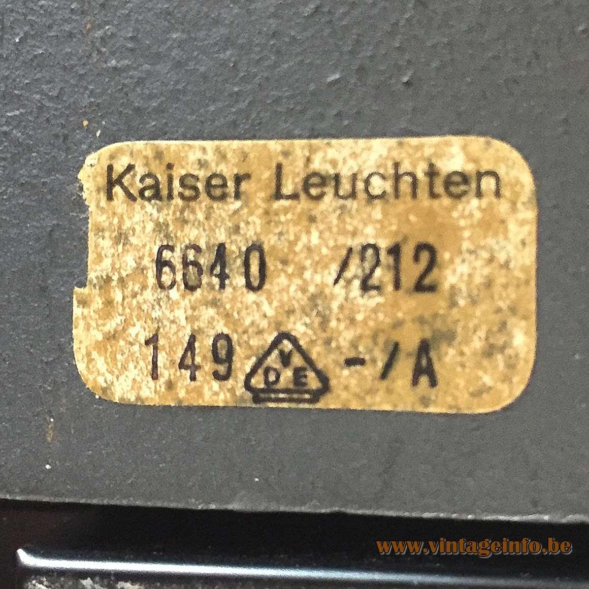 Kaiser Leuchten 6640 Desk Lamp - 6640/212/149-/A label