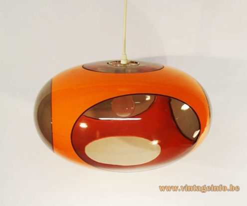 1960s Red Glass & Chrome Chandelier - Luigi Colani UFO Pendant Lamp
