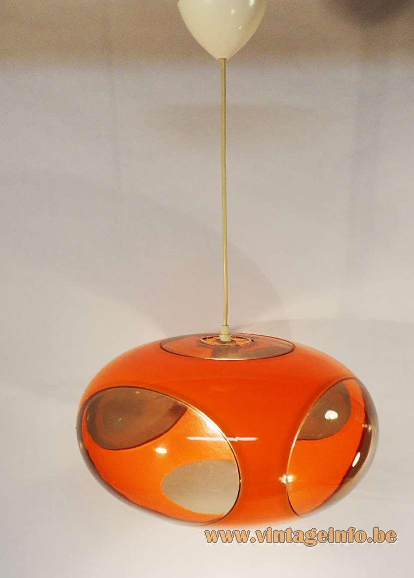 UFO style oval globe pendant lamp in orange plastic 4 smoked brown clear oval windows E27 socket retro
