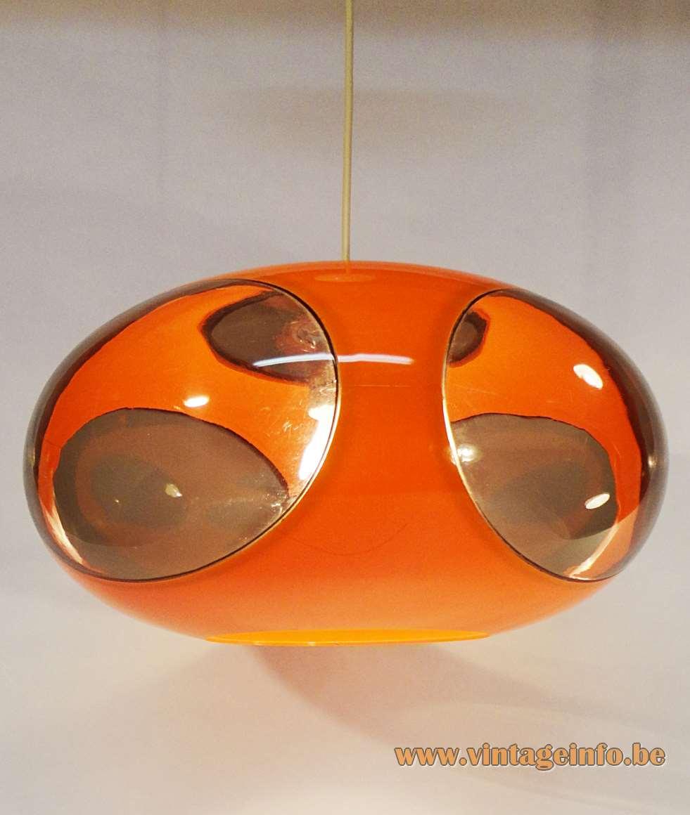 Luigi Colani UFO Pendant Lamp, Production: Massive Belgium in the 60s and 70s, orange plastic
