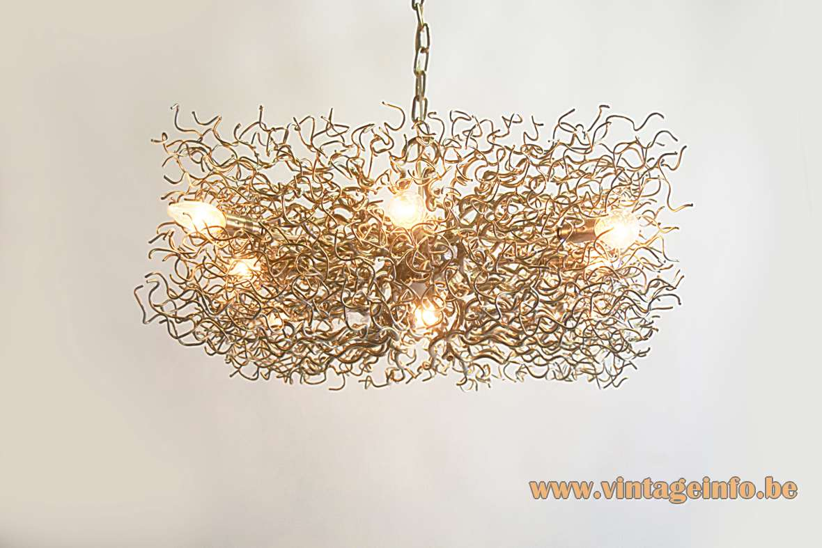Brand van Egmond square Hollywood chandelier curled iron nickel-plated branches chrome chain 8 E14 sockets