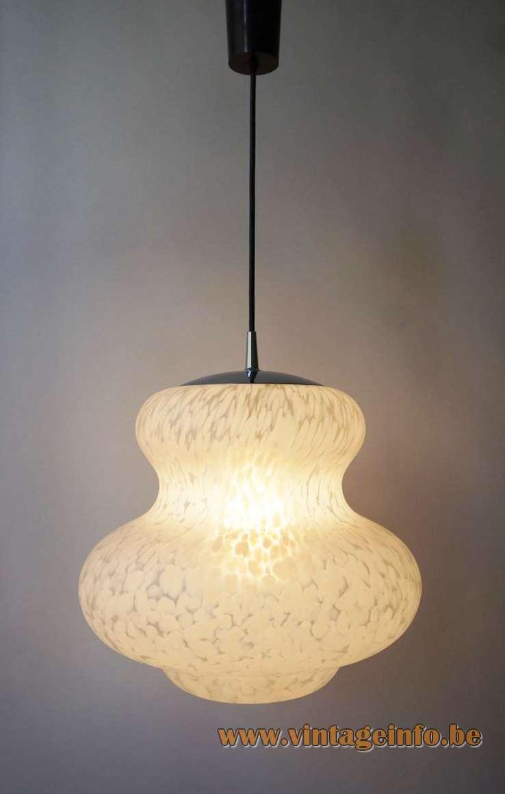 Peill + Putzler white clouds mottled pendant lamp butternut bottle gourd pumpkin calabash 1970s Mid-Century Modern