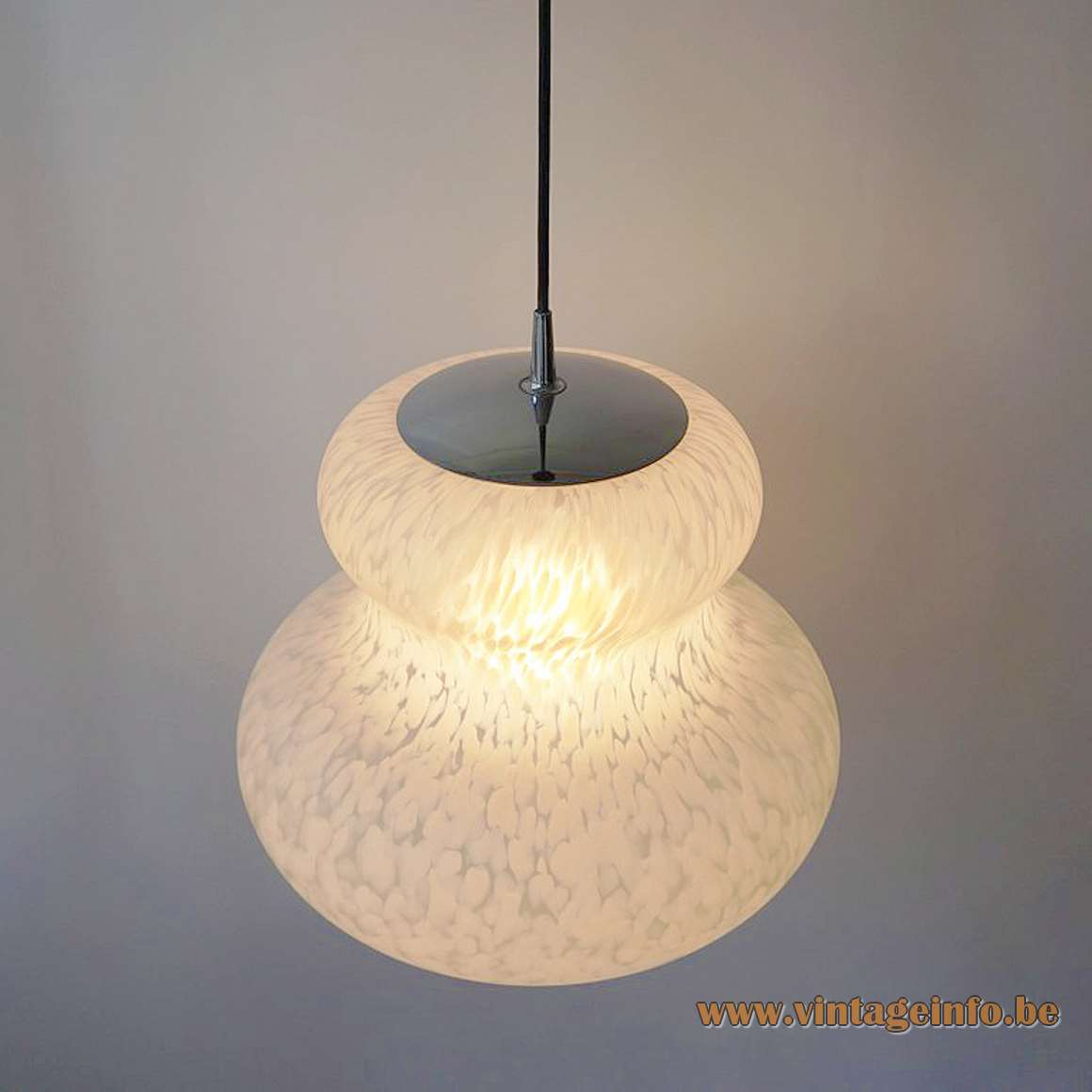 Peill + Putzler white clouds pendant lamp mottled glass butternut pumpkin chrome 1970s Germany E27 socket