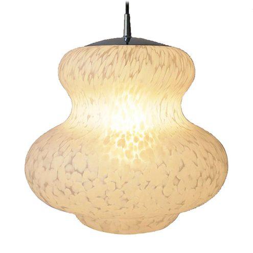 Peill + Putzler white clouds pendant lamp mottled glass butternut pumpkin chrome 1970s Germany E27 socket