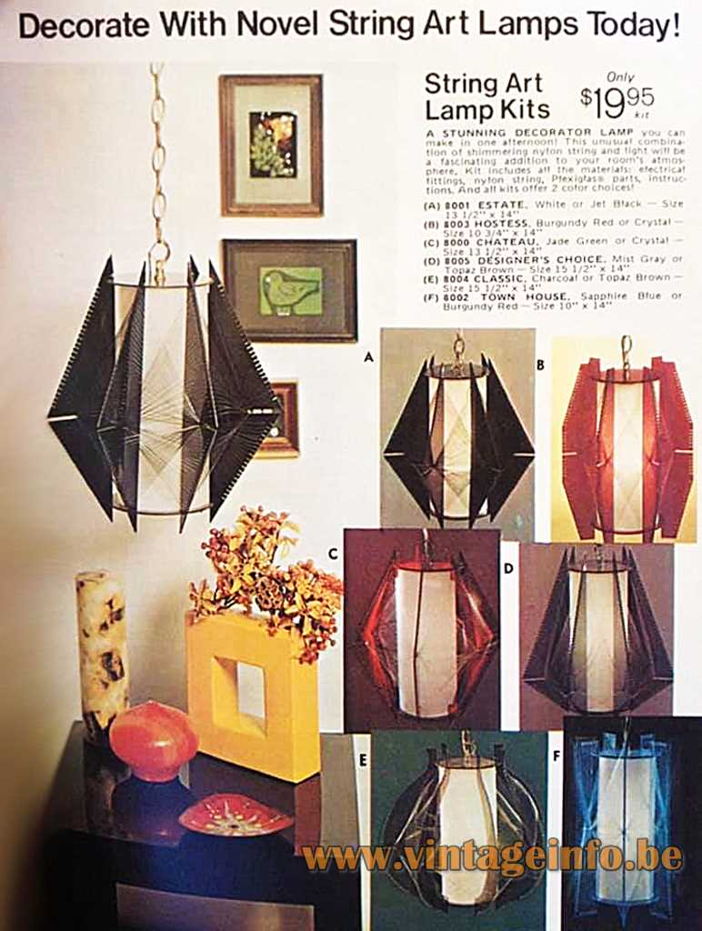 String Art Lamps USA advertisement 1960s MCM