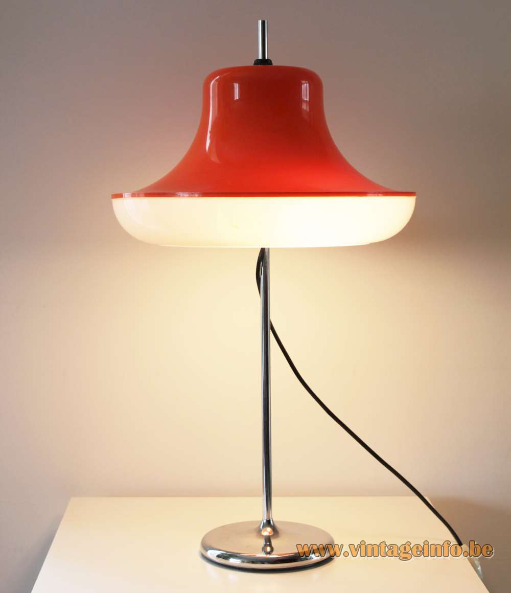 Wila 1960s table lamp chrome round base & rod white and orange acrylic lampshade WILA Leuchten Germany 1960s 1970s Mid-Century Modern