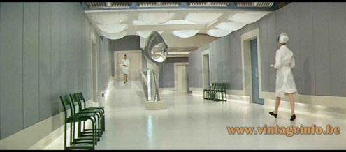 iGuzzini Dada flush mount style lamps used as a prop in the 1969 film Hibernatus