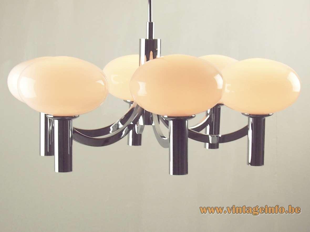 1960s Kaiser Leuchten Opal Globes Chandelier