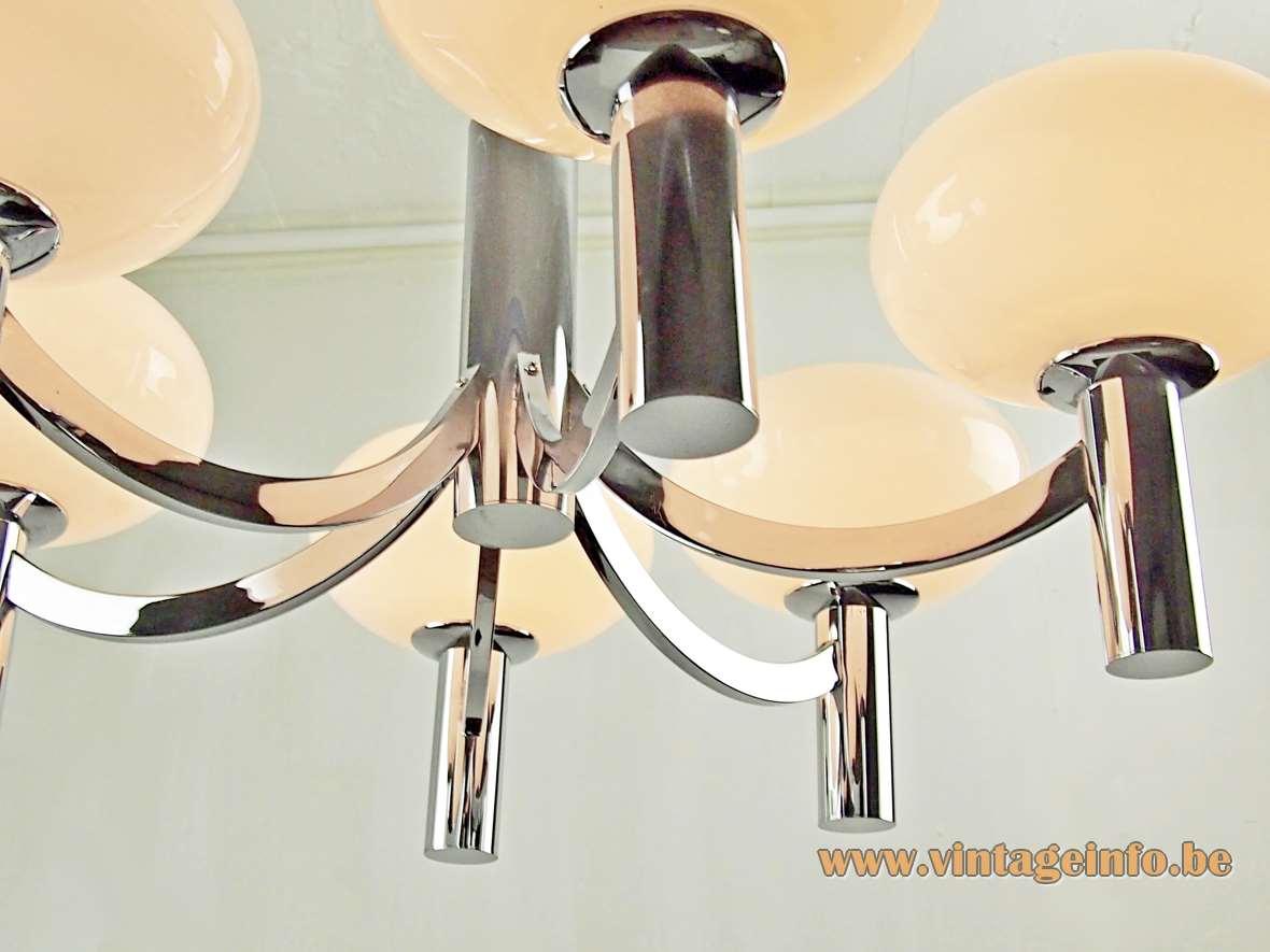 1960s Kaiser Leuchten oval white opal globes chandelier chrome frame 6 E14 bulbs 1960s Mid-Century Modern MCM