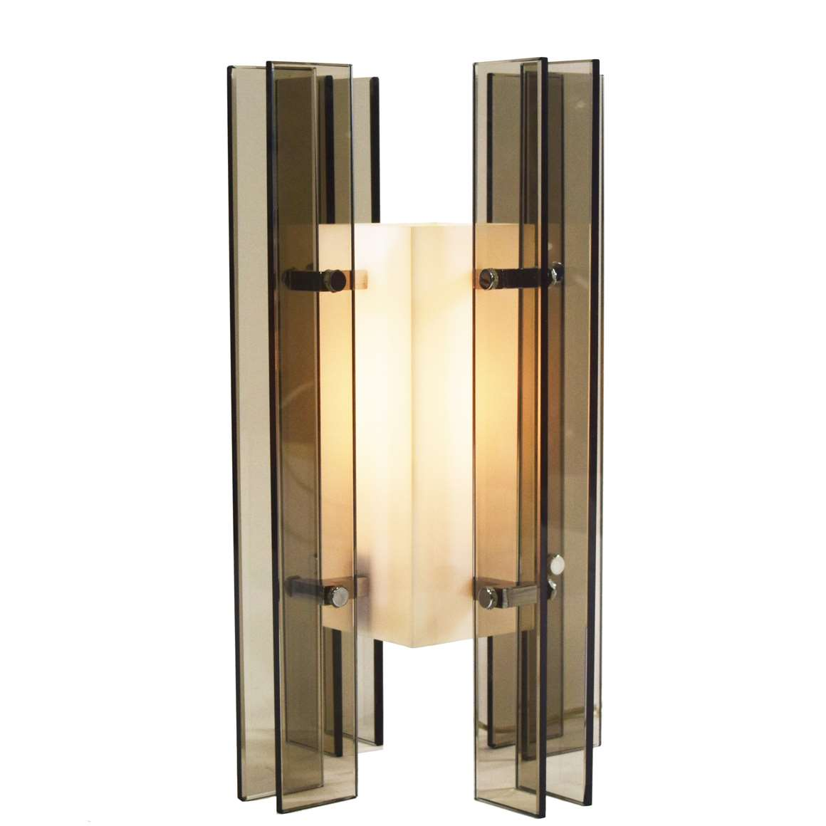 1960s Smoked Glass And Acrylic Table Lamp
