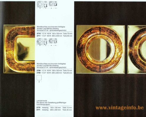 1970s Square Brass & Glass Wall Lamp - 1979 Catalogue Picture