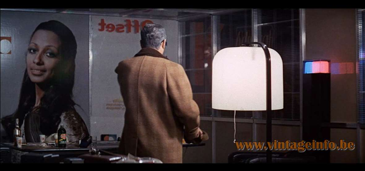 Harvey Guzzini Alvise floor lamp used as a prop in the film The Sicilian Clan (1969) - Lamps in the movies!