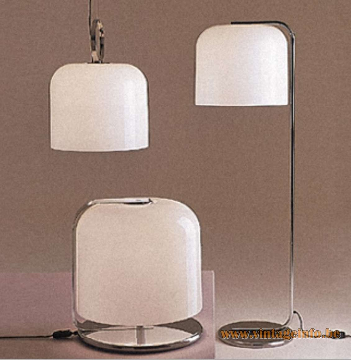 Harvey Guzzini Alvise Pendant Table Floor Lamp Luigi Massini chrome white acrylic MCM 1966