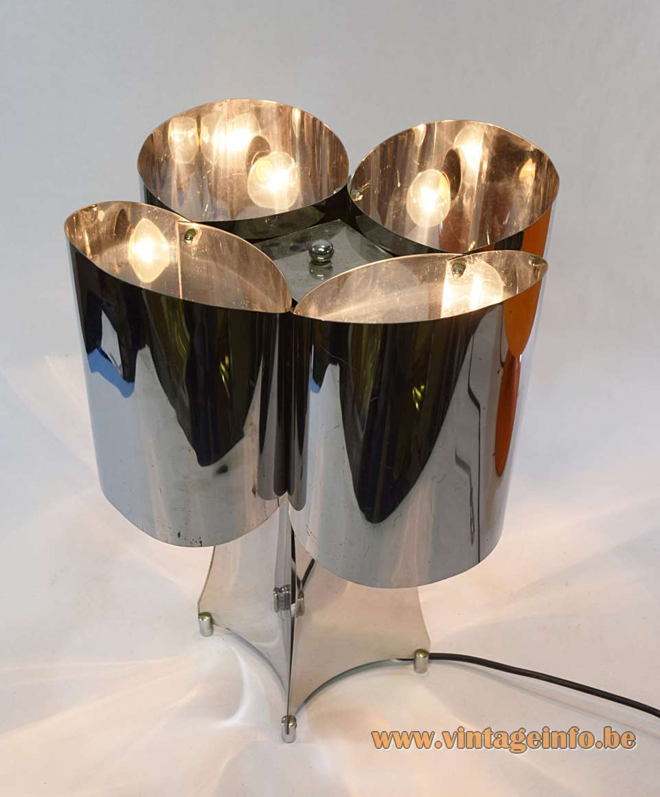 Stainless steel table lamp curved Inox slats 4 E14 sockets Tappital Italy 1960s 1970s vintage