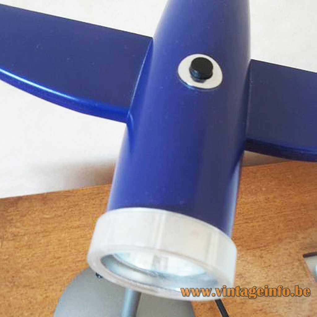 Airplane table lamp blue version with a dichroic halogen bulb 1990s 2000s