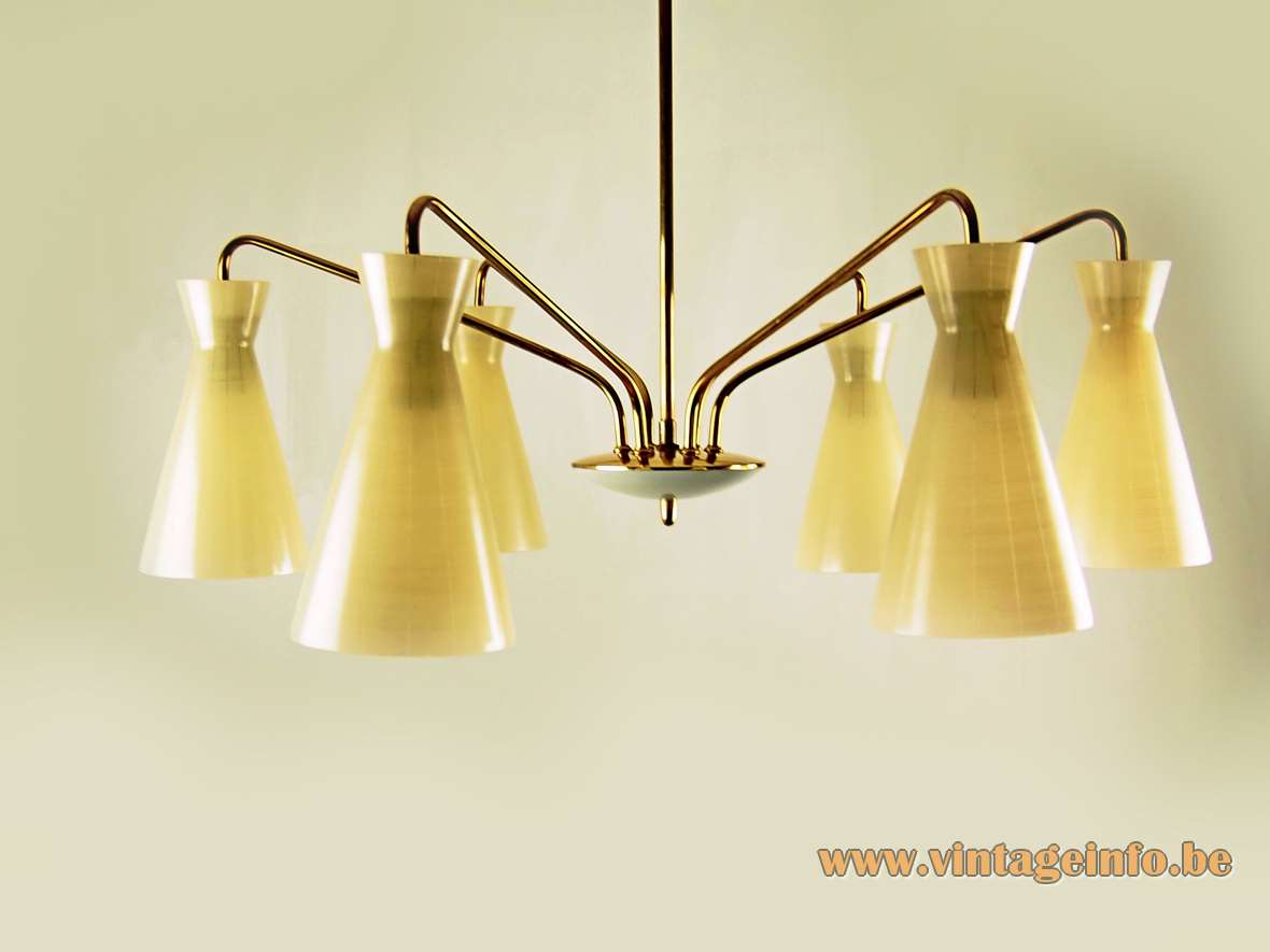 1950s Diabolo chandelier 6 lights brass curved rods Rupert Nikoll Austria glass lampshades 1950s 1960s Mid-Century Modern MCM