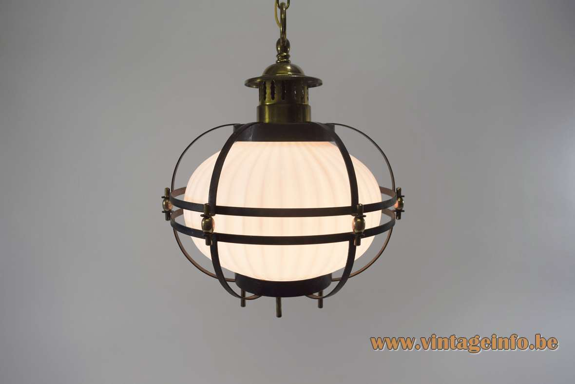 1950s ribbed glass pendant lamp round opal globe black metal cage brass screws chain 1960s Massive