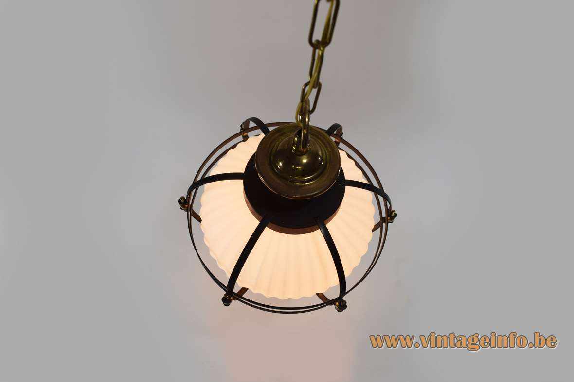 1950s ribbed opal glass pendant lamp black metal cage brass ornamental screws and nuts chain round 1950s 1960s MCM