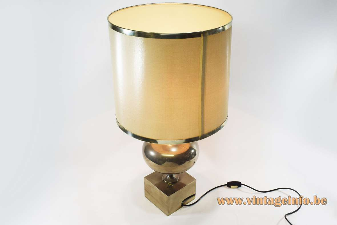 1970s Philippe Barbier table lamp nickel-plated metal globe square base 1960s Mid-Century Modern MCM round lampshade