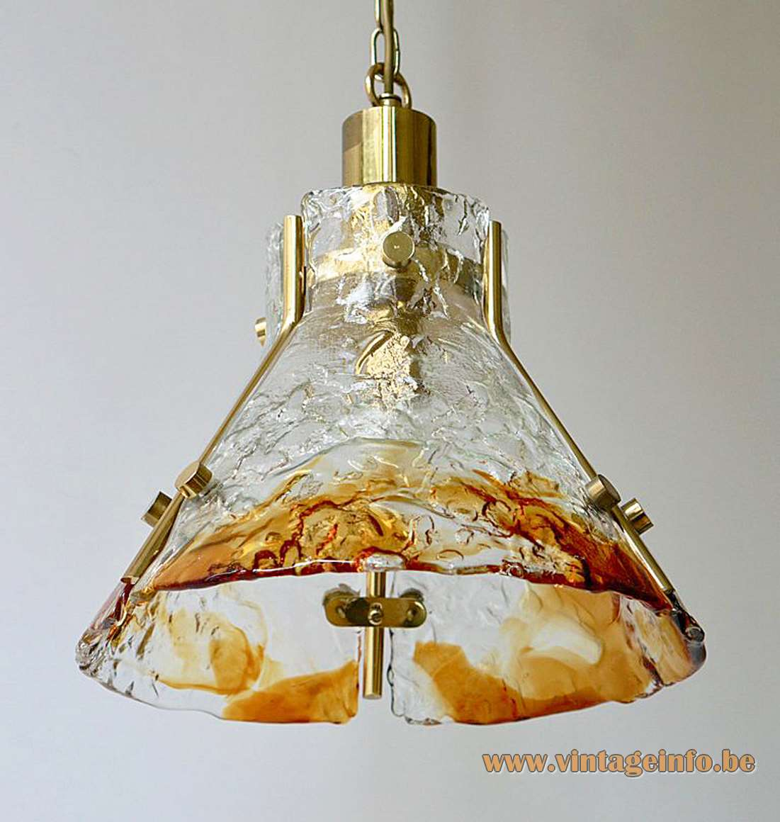 AV Mazzega amber glass pendant lamp design: Carlo Nason conical 3 glass parts brass E27 socket Mid-Century Modern MCM