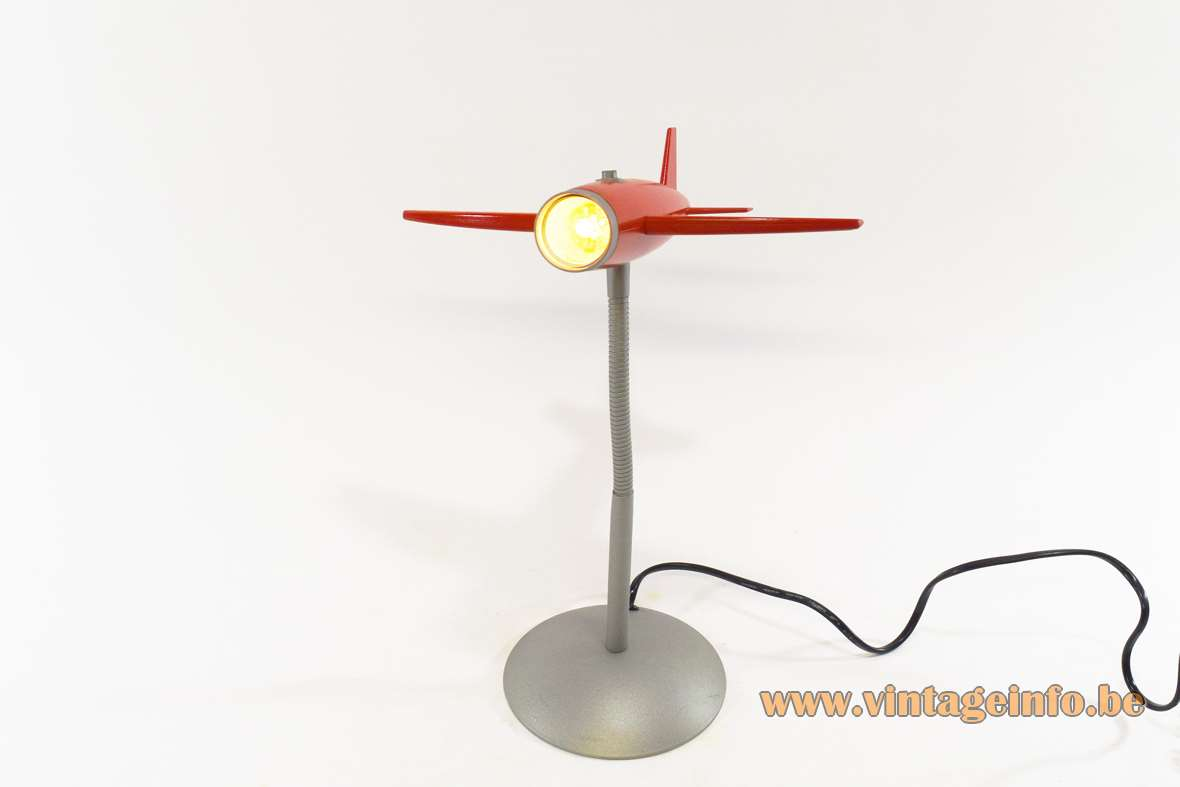 Airplane table lamp silver and red painted metal gooseneck 1990s 2000s children room kids halogen bulb