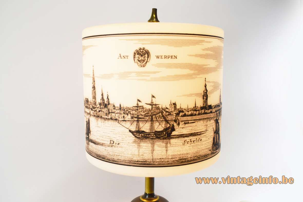 Brass table lamp with a globe and an opal glass lampshade medieval city print E27 socket